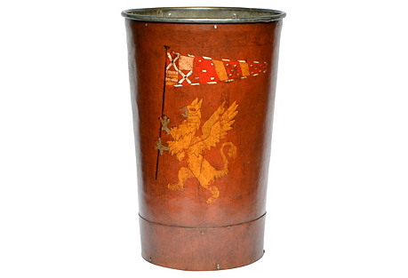 English Leather Bin w/ Crest