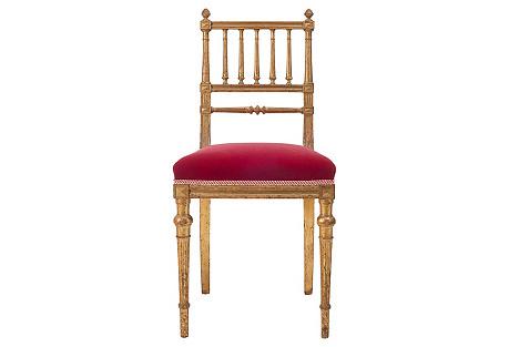 Gold Leaf Red Velvet Chair