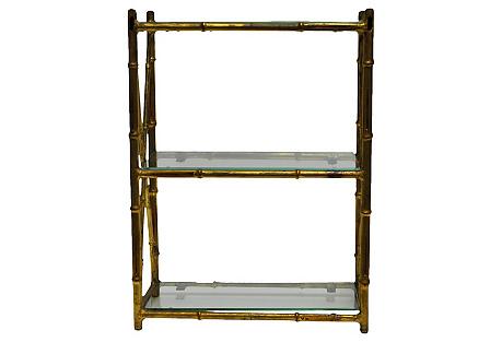 Gilded Faux-Bamboo Wall Shelf