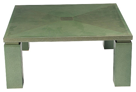 French Square Celadon Coffee Table