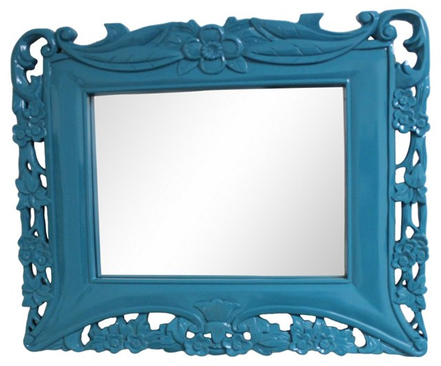 Blue Tropical-Theme Mirror