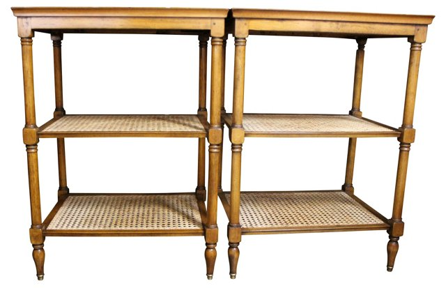 Caned Side Tables,  Pair