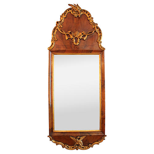 Georgian-Style Gilt & Walnut Mirror