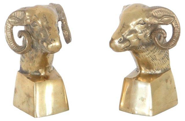 Brass Ram's Head Bookends
