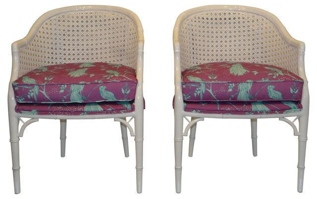 Faux-Bamboo  Barrel Chairs, Pair