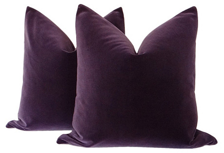 Royal Purple Velvet Pillows, Pair