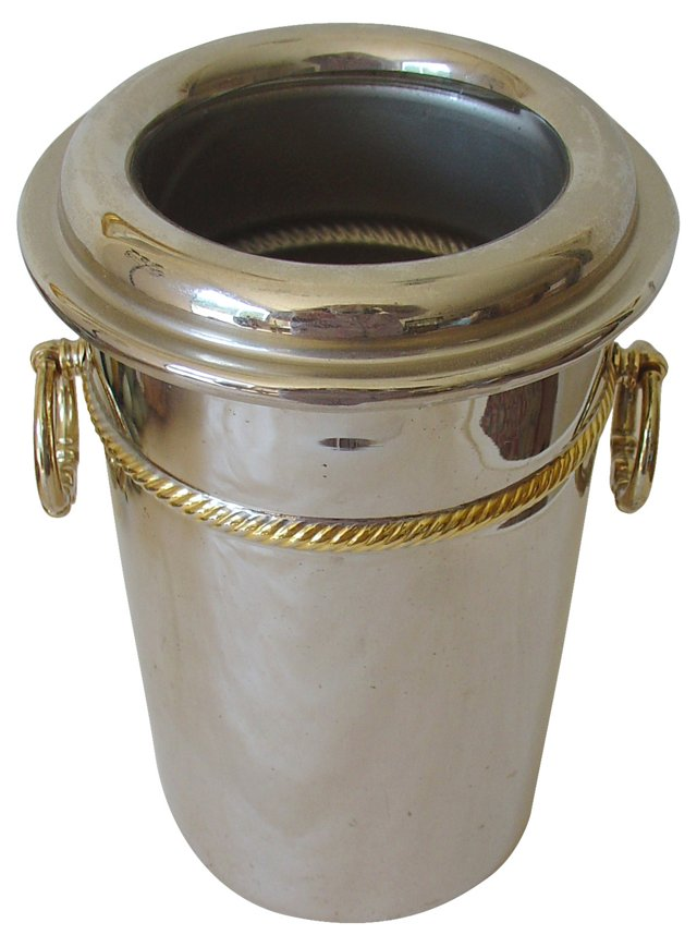 Silver Champagne Bucket w/ Gold Trim