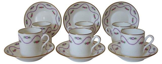 Ginori Demitasse Cups & Saucers, S/6