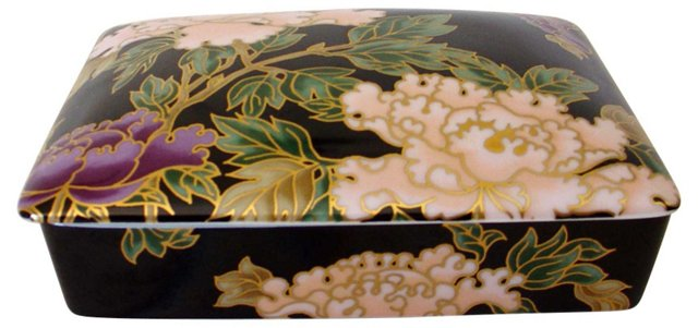 Peonies Porcelain Box w/ Playing Cards