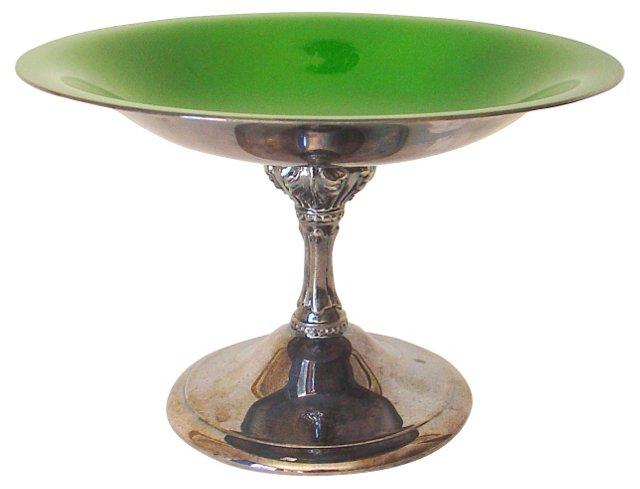 Silver & Green Enamel Pedestal Dish