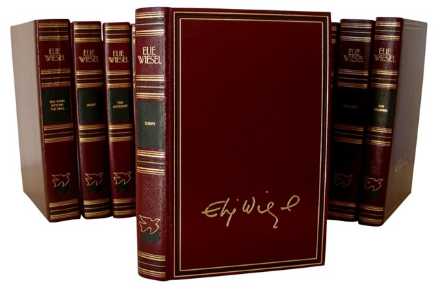 Leather-Bound Elie Wiesel Books, S/12