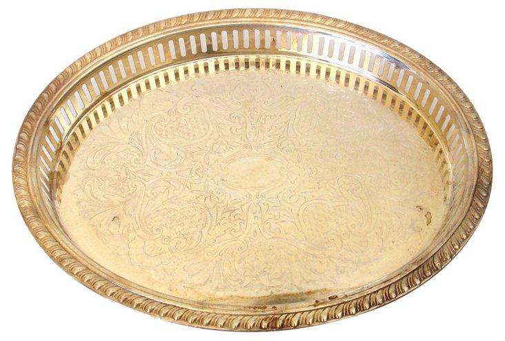 Oval Pierced Silver Tray