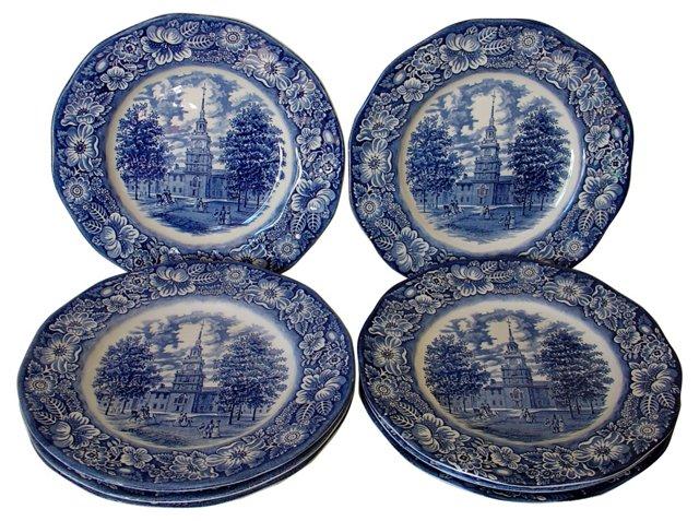 Staffordshire Liberty Blue Plates, S/4