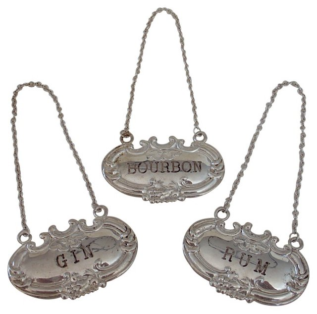 Sterling Silver Decanter Labels, S/3
