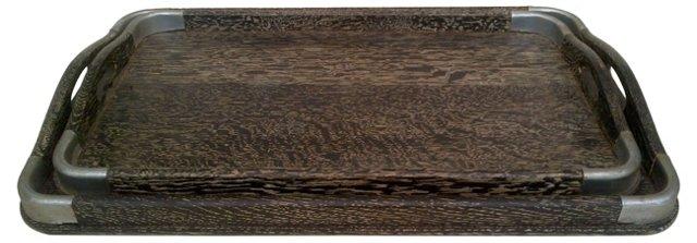 Zebra Wood Trays, Pair