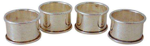 Classic Silver Napkin Rings, Set of 4