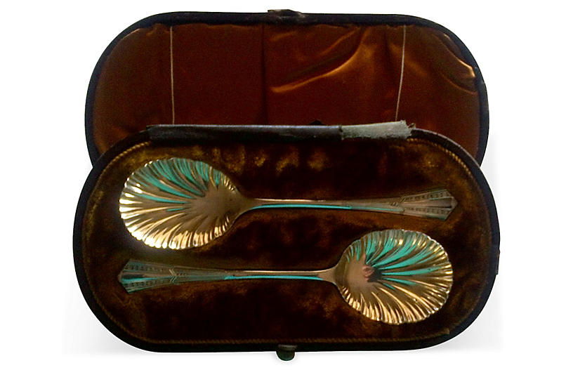 Antique Silver Spoons w/ Box, Pair