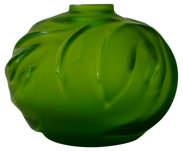 Lalique France Green Palm Vase