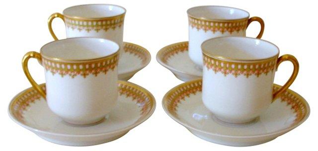 Haviland Limoges Cups & Saucers, 8 Pcs