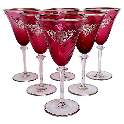 Sterling Overlay Cranberry Goblets, S/6