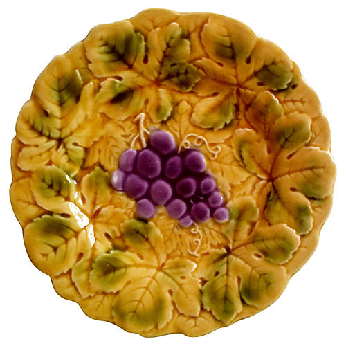Sarreguemines Majolica Grapes Plate
