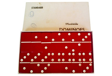 Vintage Red Dominoes Set of 28 in Box