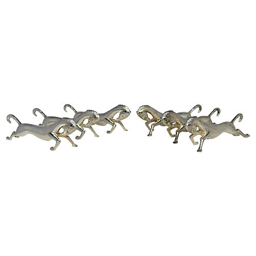 French Silver Horse Knife Rests, S/6