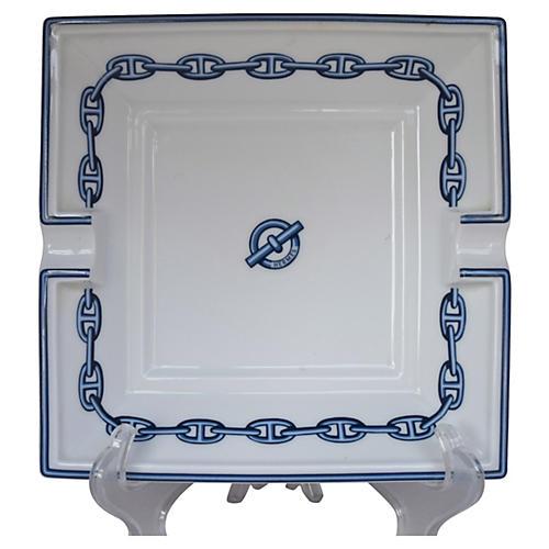 Hermès Chaîne d'Ancre Blue Ashtray w/Box
