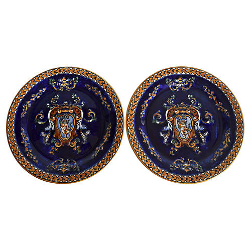 Gien French Renaissance Plates, Pair