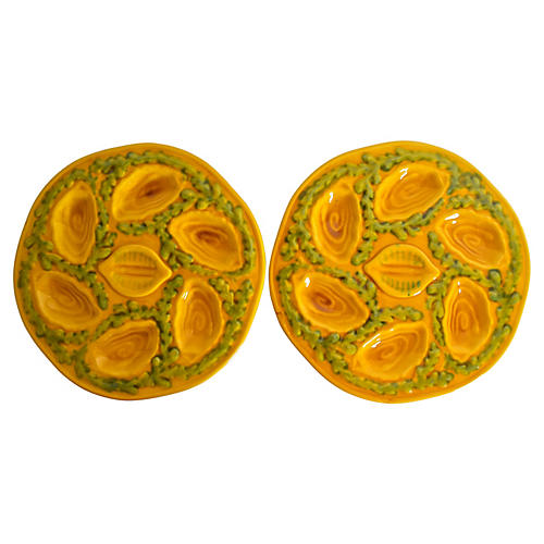 French Majolica Oyster Plates, Pair