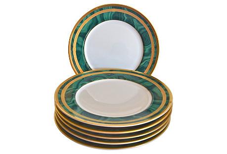 Christian Dior Malachite Plates, S/6