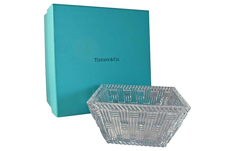 Tiffany & Co. Crystal Basket-Weave Bowl
