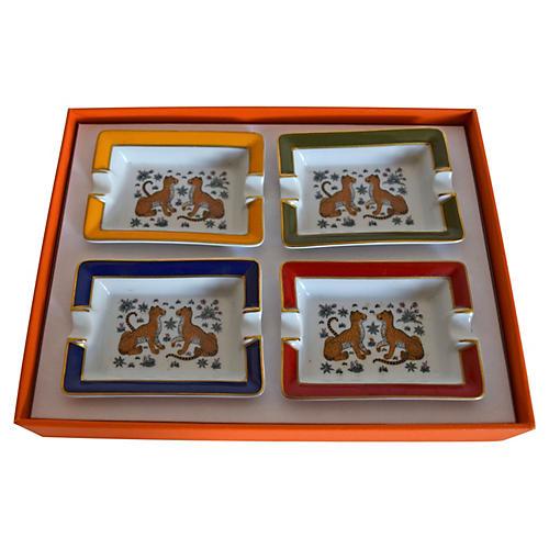 Boxed Hermès Cheetah Ashtrays, S/4