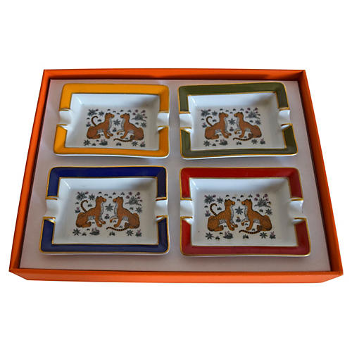 Boxed Hermès Cheetah Ashtrays, S/4