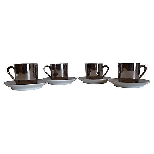 Fitz & Floyd Cups/Saucers, S/4