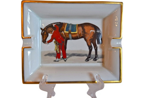Hermès France Signed Equestrian Ashtray