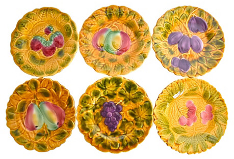 French Fruit Plates, S/6