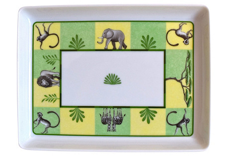 Hermès Green African Animals Tray w/ Box