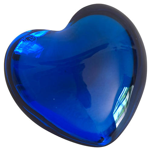 Baccarat Blue Crystal Puffy Heart