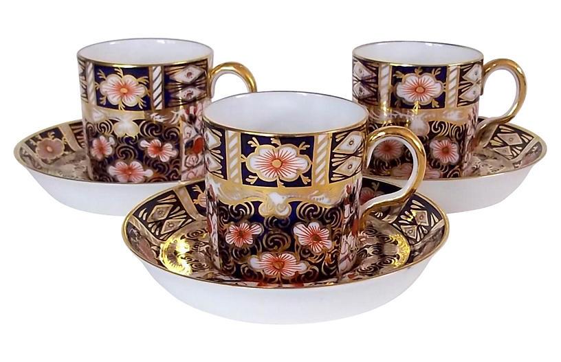 Royal Crown Derby Cups & Saucers, 6-Pcs