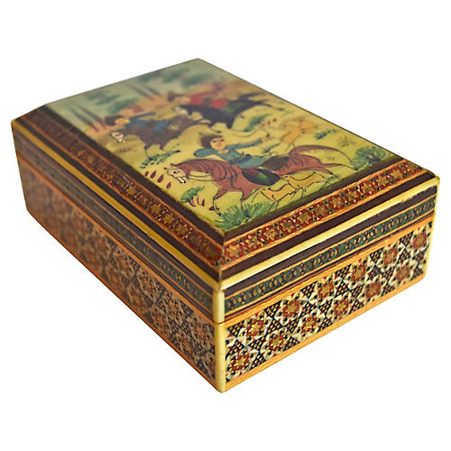 Persian Hand-Painted Marquetry Box