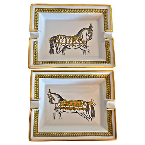 Hermès Classic Horse Ashtrays, Pair