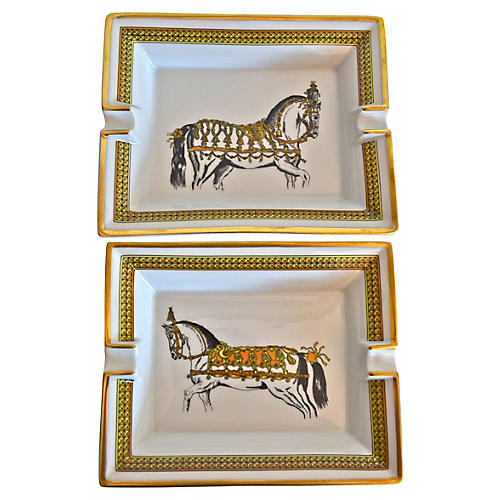 Hermès Classic Horse Ashtrays, Pair