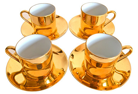 Neiman Marcus Gold Demitasse Set, 8 Pcs