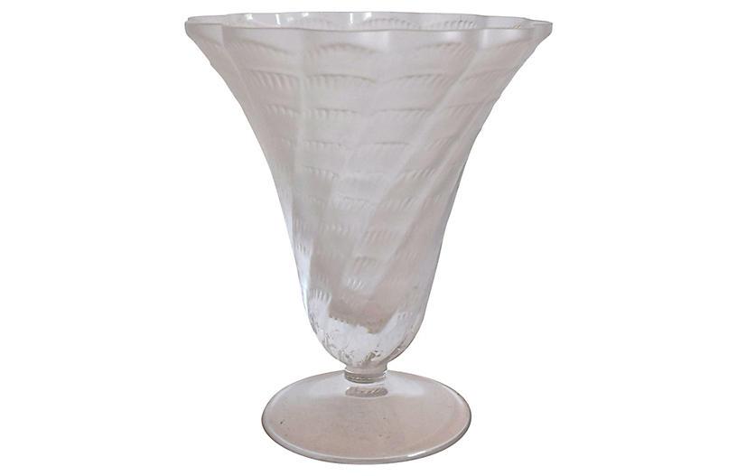 Lalique Fluted Shell Design Vase