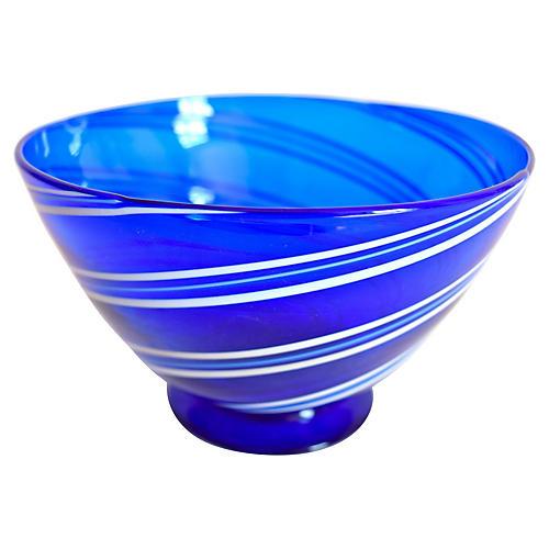 Cobalt Blue & White Art Glass Bowl