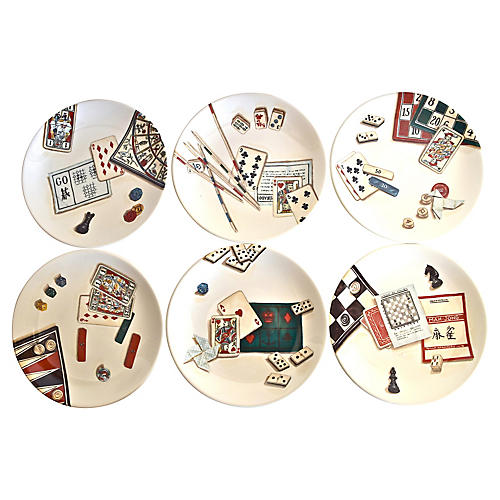 Gien France Gaming Plates w/ Box, S/6