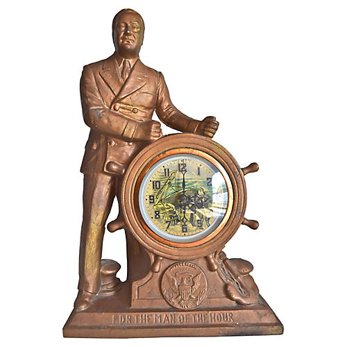 FDR The Man of The Hour Mantel Clock