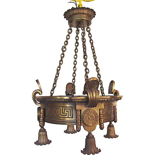 Monumental Bronze Chandelier
