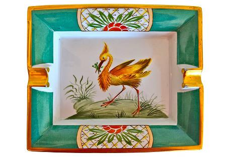 Hermès Exotic Bird Gilded Cigar Ashtray